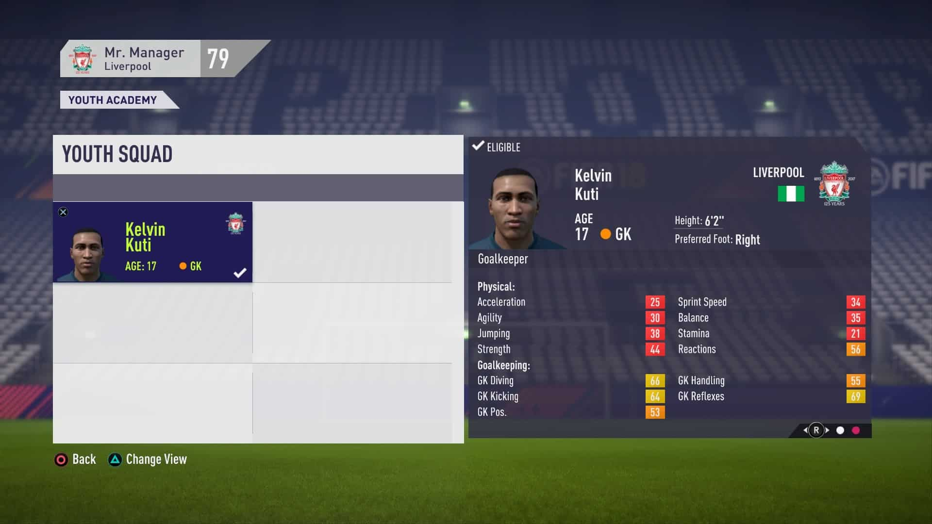 Youth Squad Player Stats