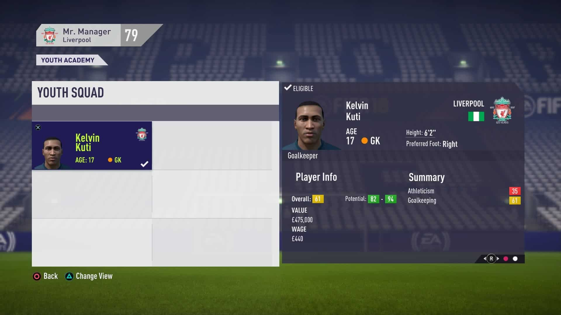 Youth Squad Player View