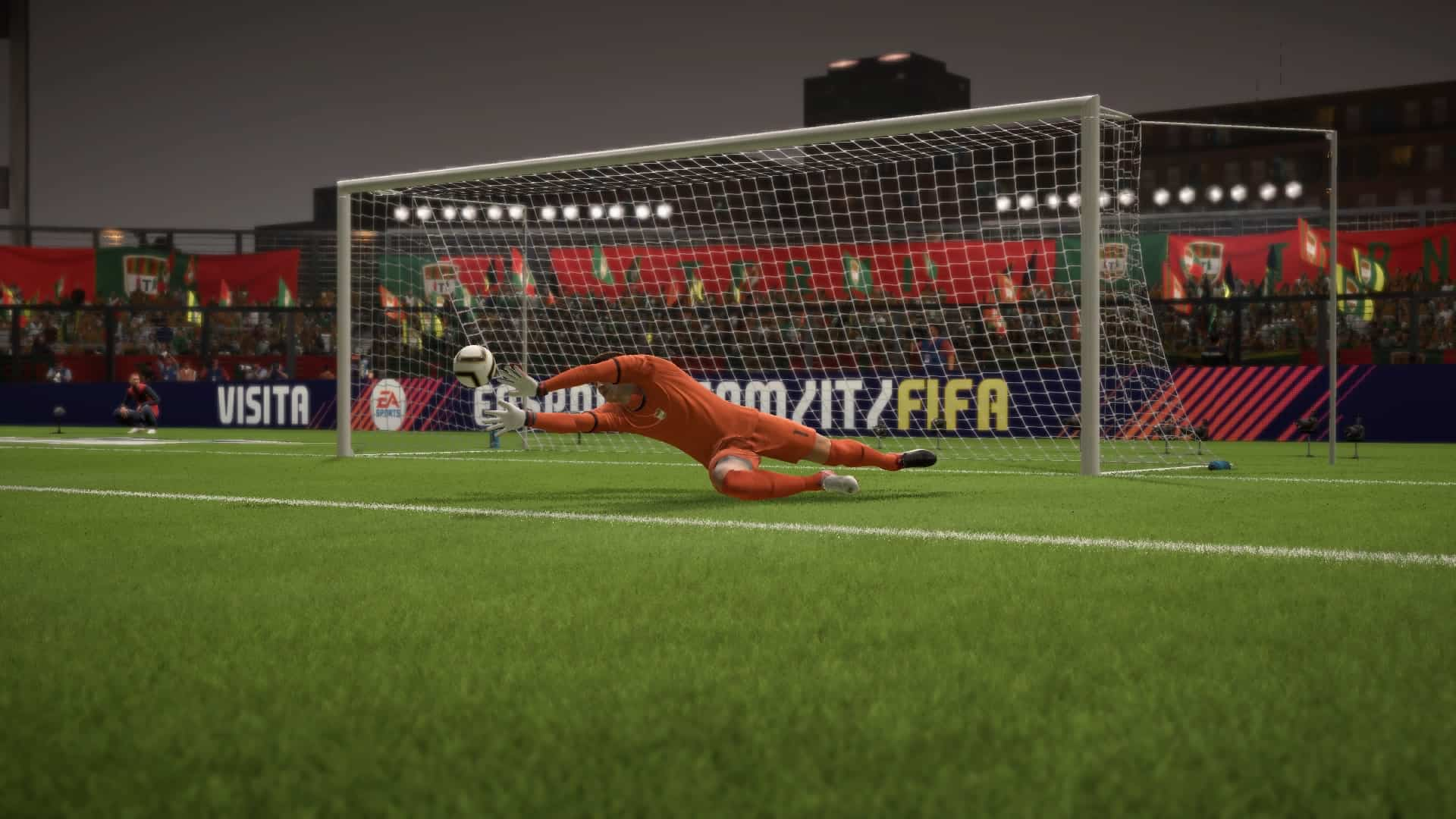 Alessandro Plizzari makes a save in FIFA 18