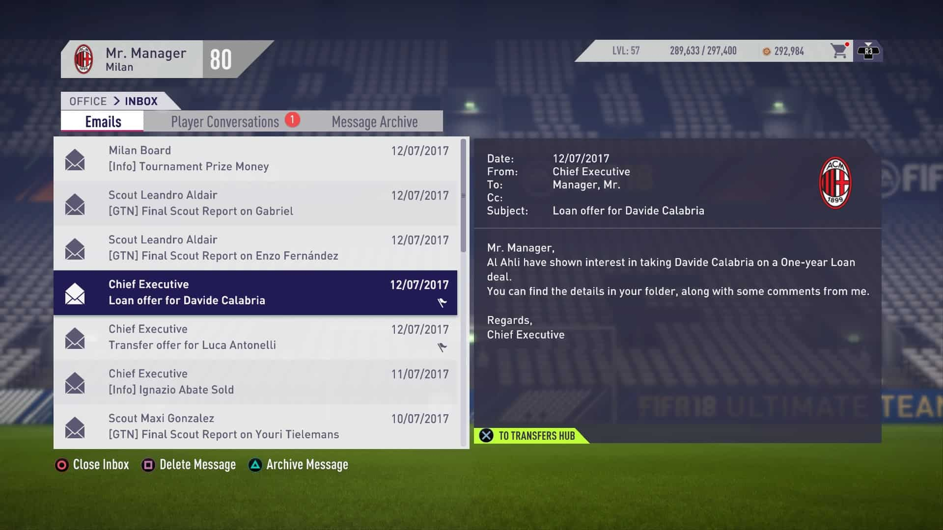 FIFA 18 Loan Message